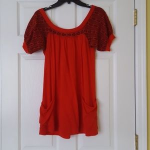 Free People (XS)  Red/Orange casual blouse.